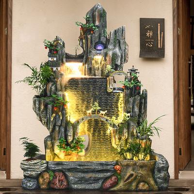 创意大型假山流水摆件 庭院喷泉客厅树脂落地装饰酒店会所 水幕墙