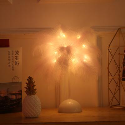 跨境新品led网红羽毛小夜灯ins少女心房间布置装饰灯创意生日礼物