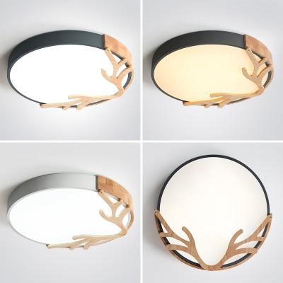 卧室灯北欧吸顶灯led客厅灯 现代简约创意鹿角圆形灯儿童灯饰照明