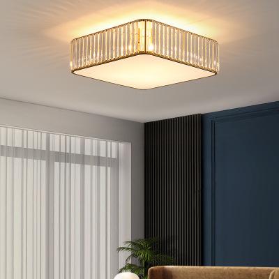 美式水晶客厅灯轻奢吸顶灯圆形餐厅卧室现代简约书房家用酒店灯具