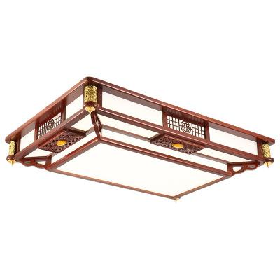 中式长方形吸顶灯实木LED客厅灯仿古房间餐厅卧室灯具中国风3066