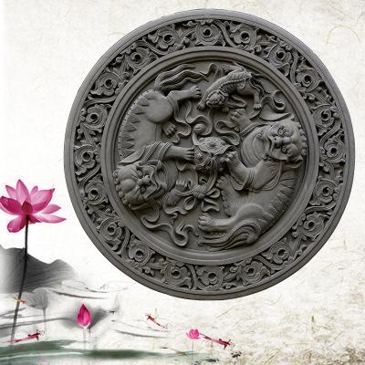 河北唐德新品古建砖雕影壁挂件 砖雕背景墙 浮雕壁画