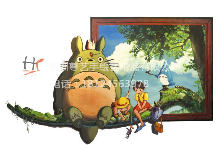 3d立体壁画主题餐厅墙绘酒店现场手绘商场墙画大芬油画房地产彩绘