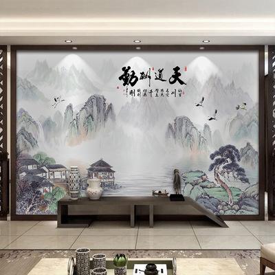 九鱼图装饰挂画中式年年有鱼锦鲤荷花横幅客厅背景墙壁画