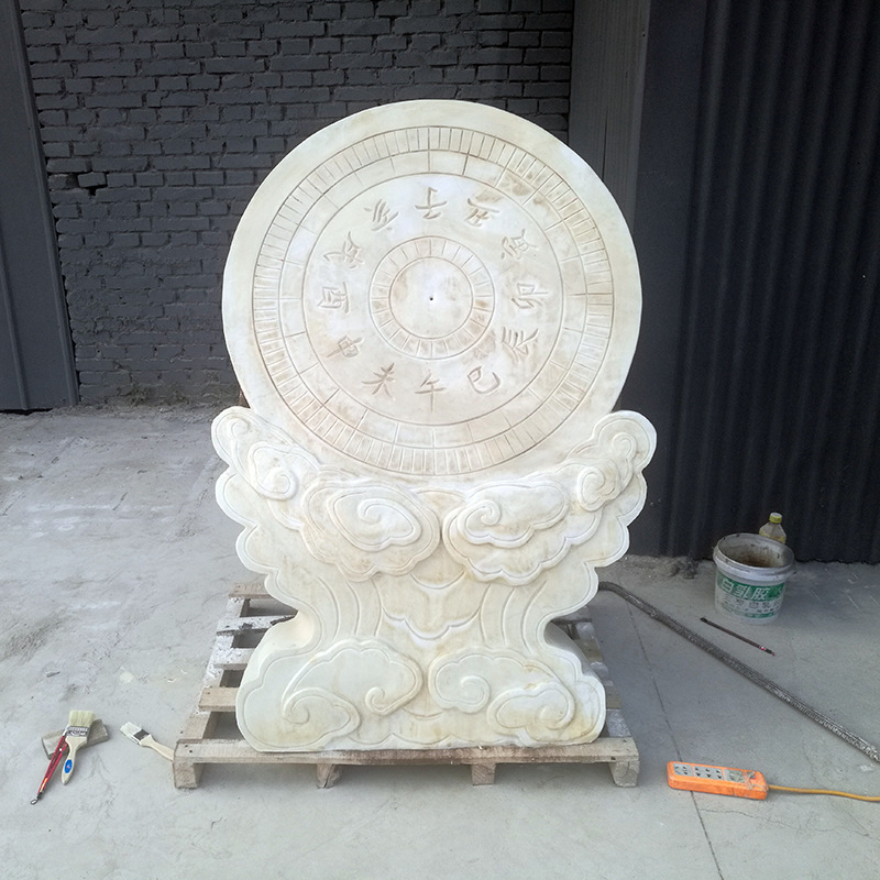 汉白玉仿古日晷古代计时器石雕校园摆件景观雕塑 厂家专业定制