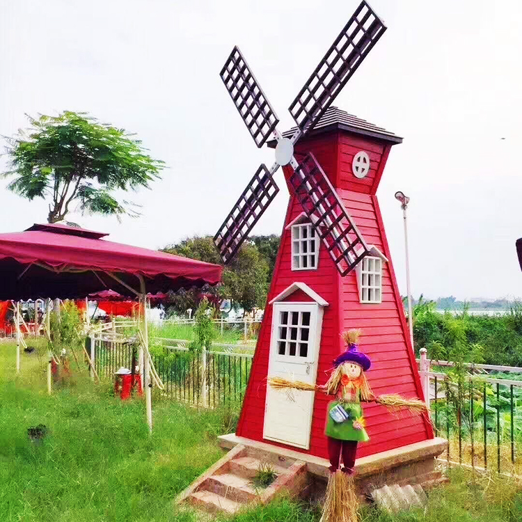 景区公园广场活动布置大型荷兰防腐木风车厂家定制木质旋转风车