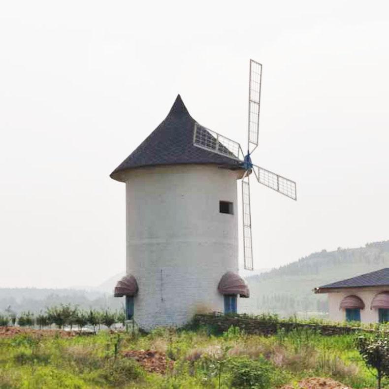 农家乐庭院造景美陈道具摆件荷兰风车大型防腐木风车来图定制生产
