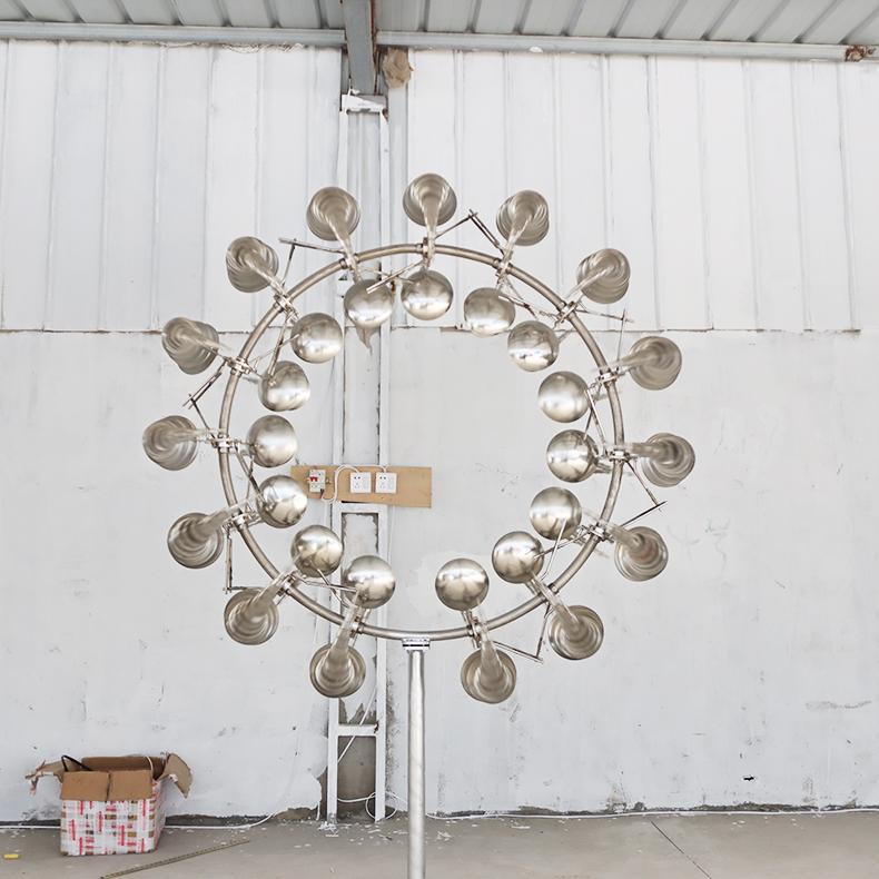 太阳花八爪鱼财源滚滚风的律动多款式风动雕塑不锈钢风力电力风动