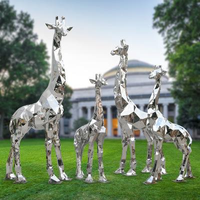 抽象不锈钢镜面几何长颈鹿雕塑户外草坪售楼部麋鹿装饰切面鹿摆件
