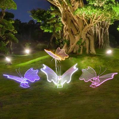 铁艺发光镂空蝴蝶不锈钢雕塑花园林小区庭院草坪景观小品装饰摆件