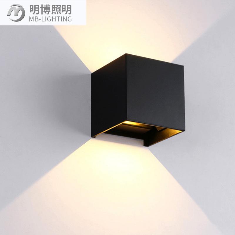 明博照明 方形壁灯 户外 现代壁灯 室外走廊上下照壁灯 壁灯套件