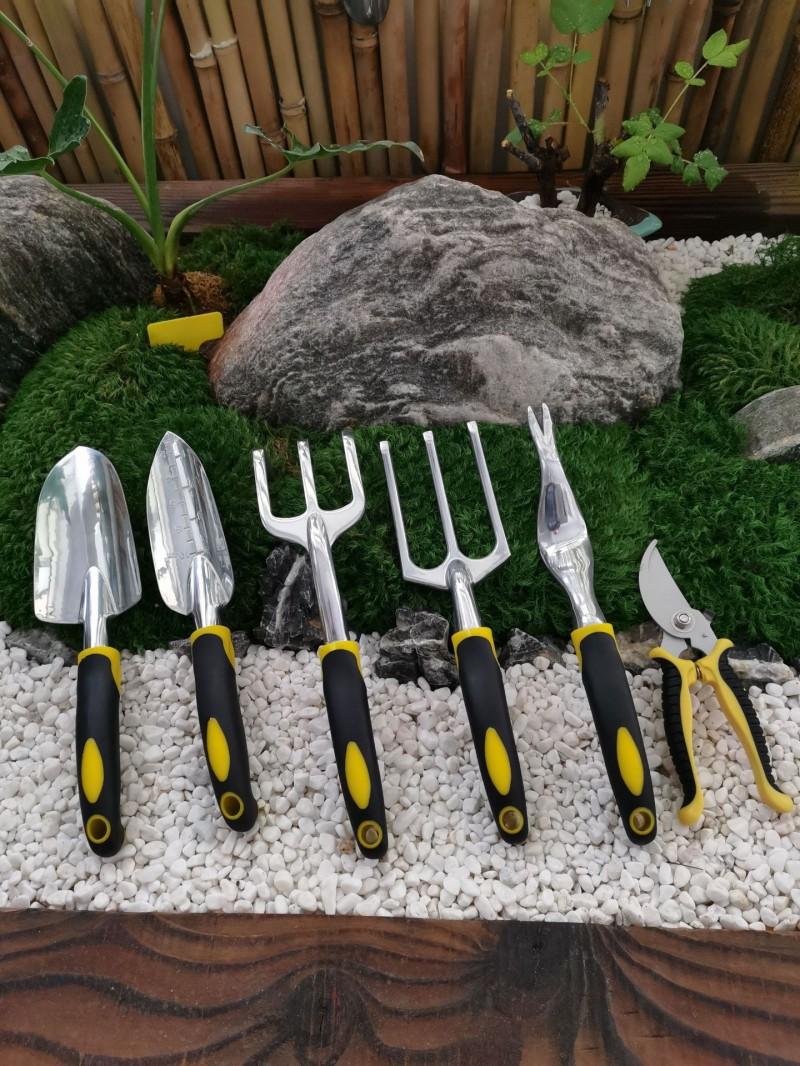 供应镁铝合金园林工具 宽铲刻度铲三爪耙三叉取根器拔草器园林剪