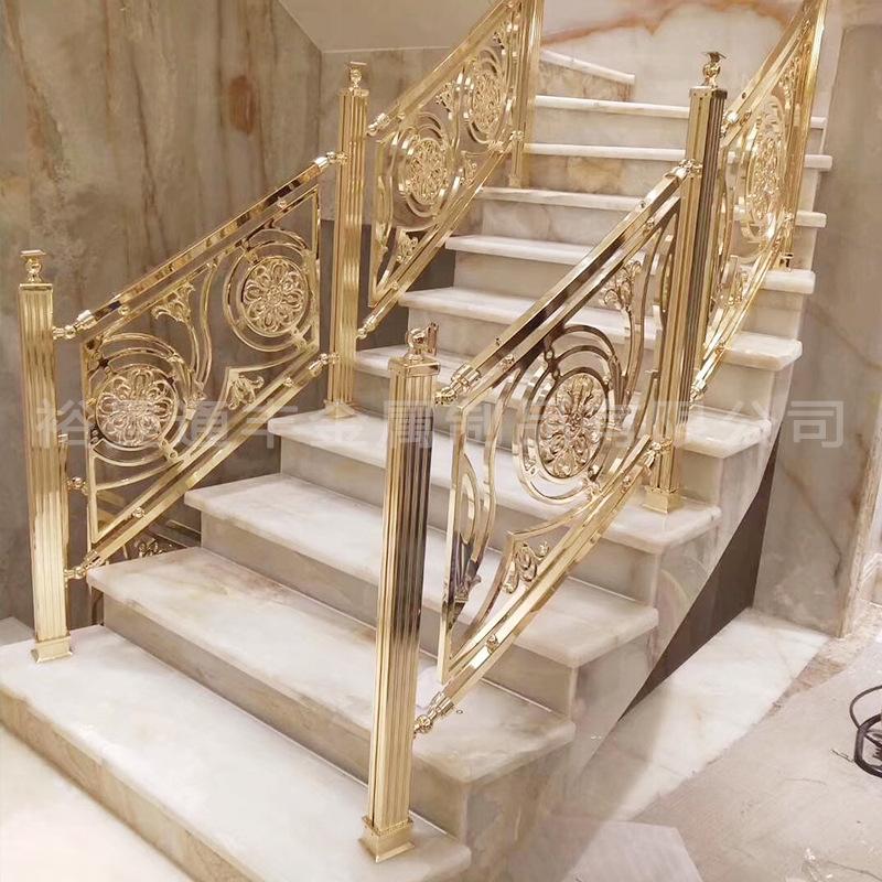 定制浮雕铜艺楼梯扶手 室内雕花铝艺护栏 酒店会所别墅铝艺护手