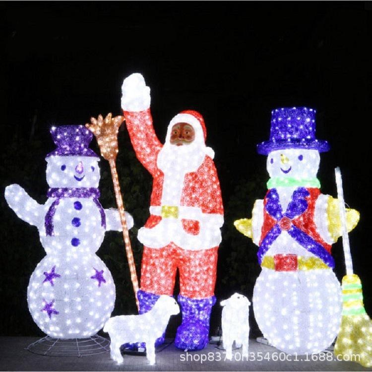 圣诞节日装饰led雪人3D立体发光亚克力滴胶圣诞老人造型灯