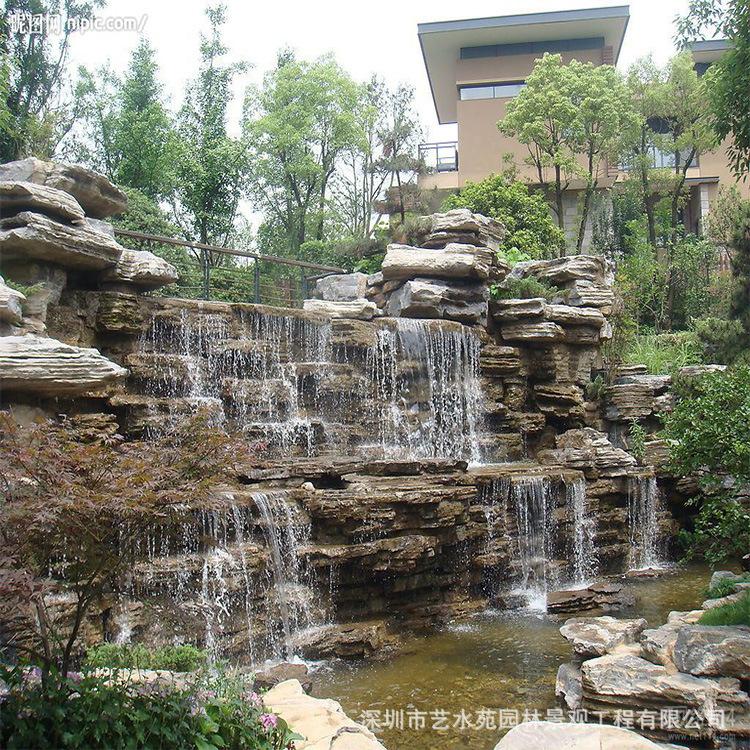 深圳流水石文化石电视背景墙砖仿古砖园林庭院花园流水水幕墙