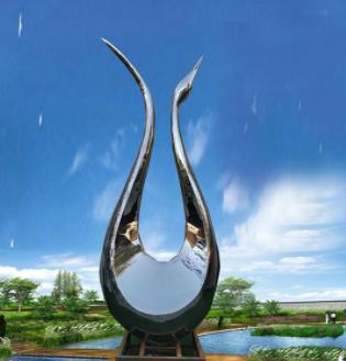 定制大型景观雕塑不锈钢天鹅雕塑户外广场园林抽象艺术雕塑