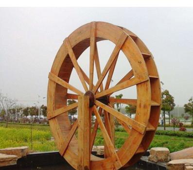 仿古碳化防腐木水车 实木仿古木质水车 大型户外景观防腐木水车