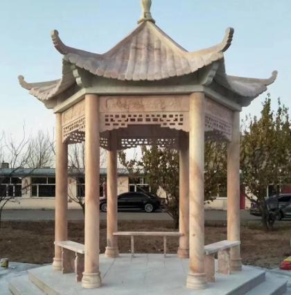 厂家定做长廊石雕亭子 单层双层晚霞红公园庭院休闲石雕凉亭