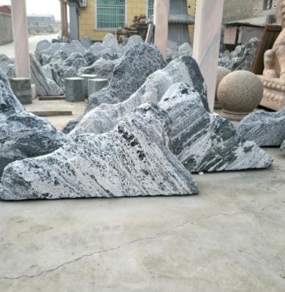 雪浪石切片组合泰山石户外天然石头景观石园林庭院室内造景摆件