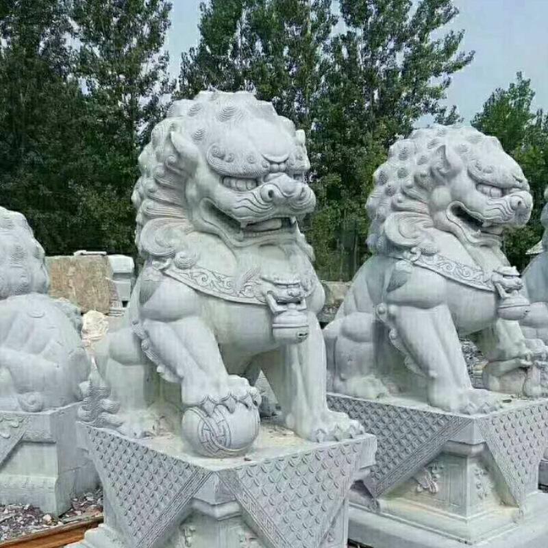 定制青石石狮 大中小型动物石狮雕塑 大理石石狮石雕雕塑摆件