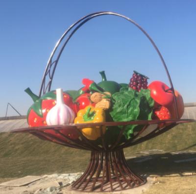 定制玻璃钢彩绘果篮雕塑 商场美陈大型园林景观果蔬雕塑摆件定做