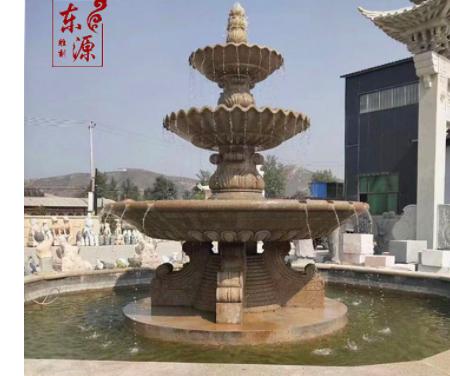 石雕喷泉黄锈石欧式石头水钵假山户外流水石钵喷水雕塑流水摆件