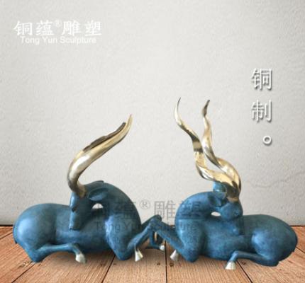 纯铜藏羚羊工艺品摆件 家居办公动物雕塑 门厅玄关鹿摆件厂家直销