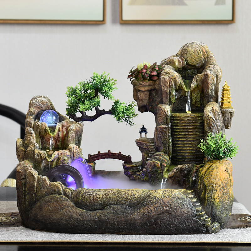 风水轮水车假山循环流水喷泉景观盆景客厅办公室室内招财摆件礼品