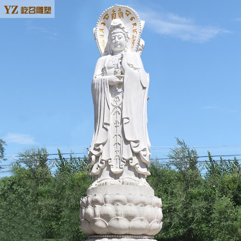 厂家定制汉白玉石雕观音佛像 三面观音菩萨像 寺庙供奉佛像雕塑