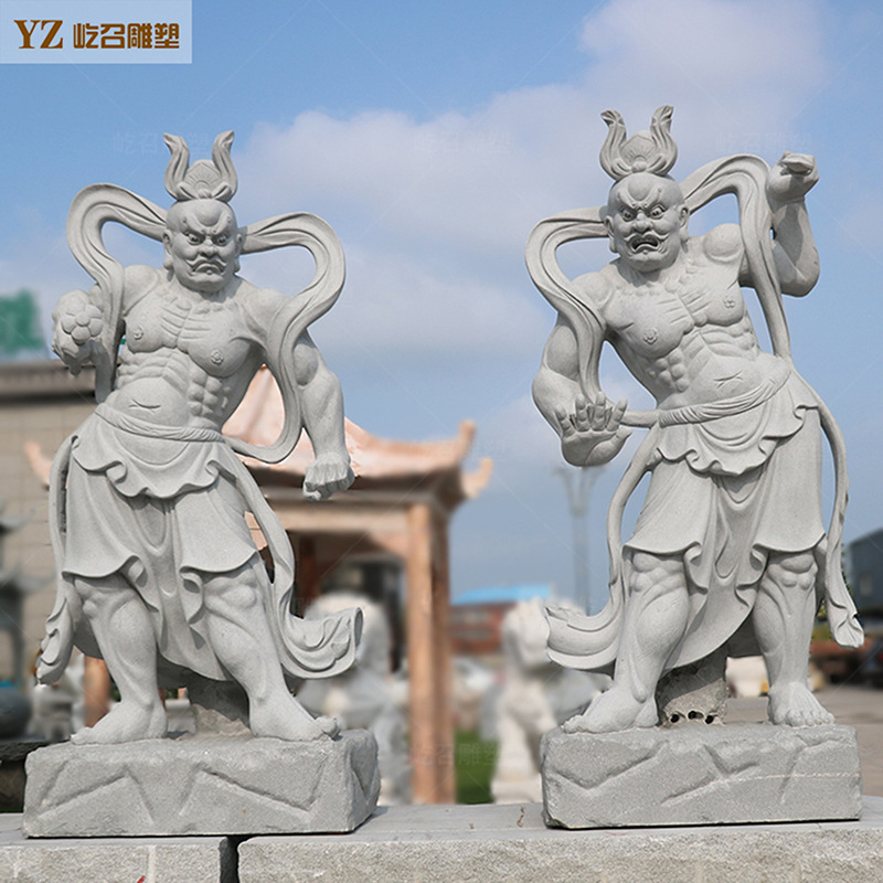 厂家定制石雕人物像哼哈二将佛像雕塑寺庙门神护法神四大天王雕像