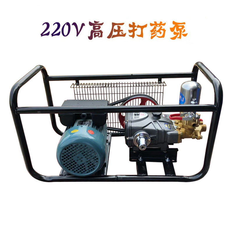 农用220V家用电机陶瓷打药泵三缸柱塞泵农业园林喷雾器高压打药机