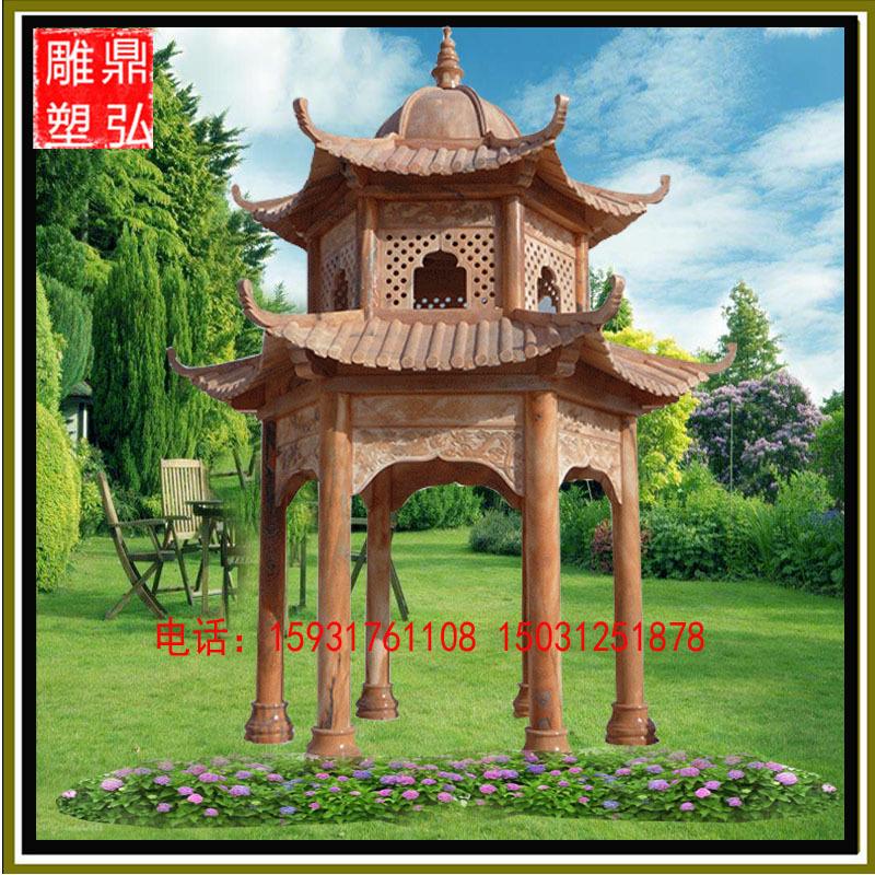 供应石雕亭子 双层晚霞红凉亭 长廊园林景观雕塑 大理石凉亭