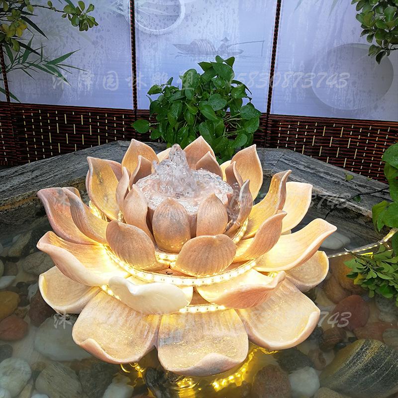 石雕莲花喷泉室内外养鱼池流水景观大理石材仿真荷花天然喷水球
