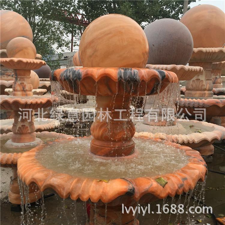 厂家直销晚霞红风水球欧式流水喷泉 户外别墅园林景观雕塑摆件