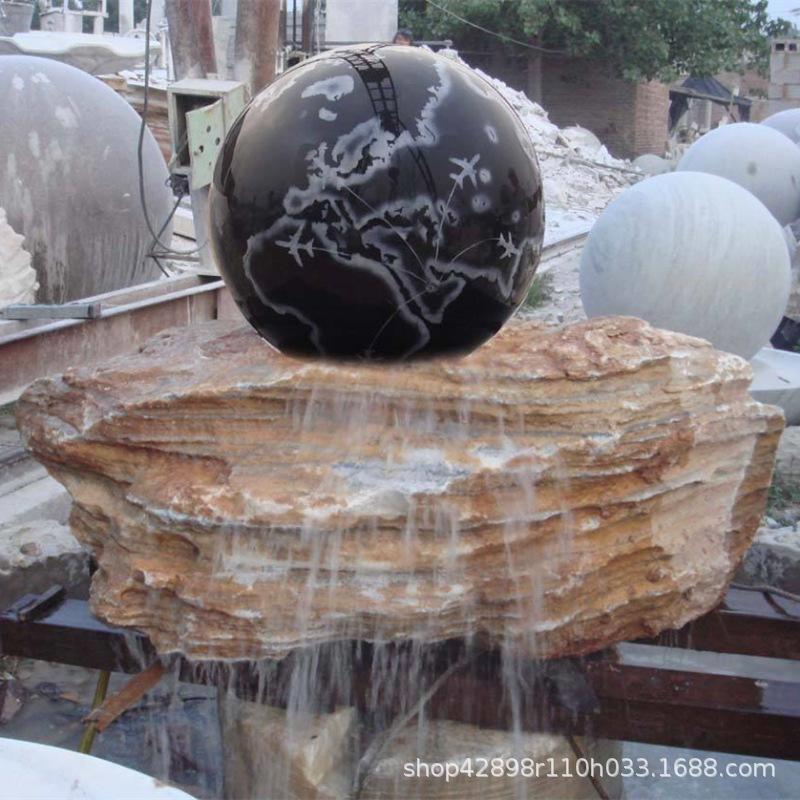 石雕风水球喷泉流水景观喷水转运球欧式中式花园滚动圆球莲花水池