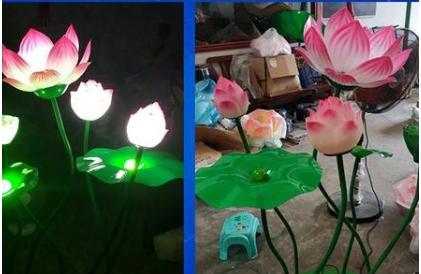 荷花造型景观灯装饰-莲花造型景观灯-水上太阳能灯-世博光电