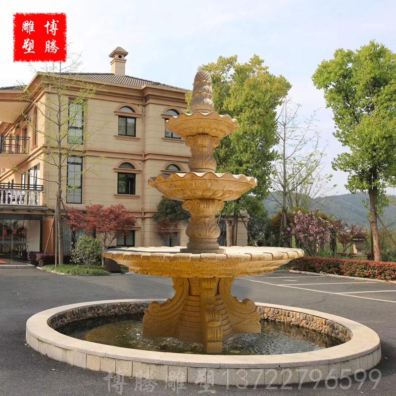石雕喷泉 大型喷泉流 别墅酒店天鹅流水雕塑景观制作