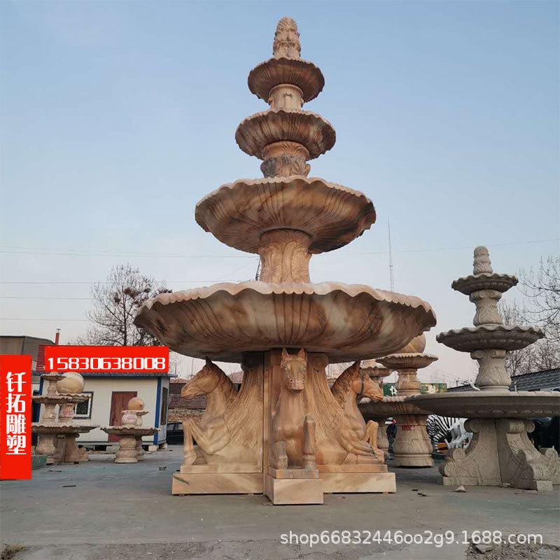 欧式晚霞红石雕喷泉大型花岗岩石雕喷泉制作公园石雕喷泉流水摆件