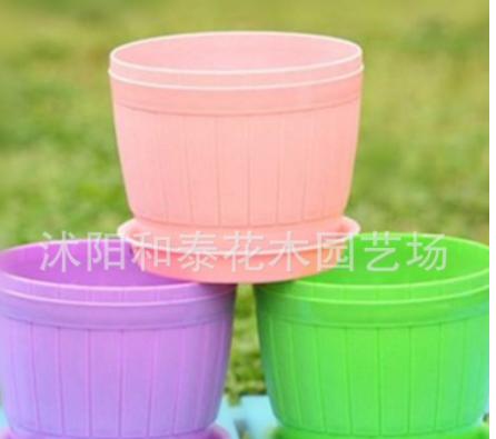 厂家批发仿木桶花盆 彩色装饰塑料花盆 创意多肉小花盆送托盘