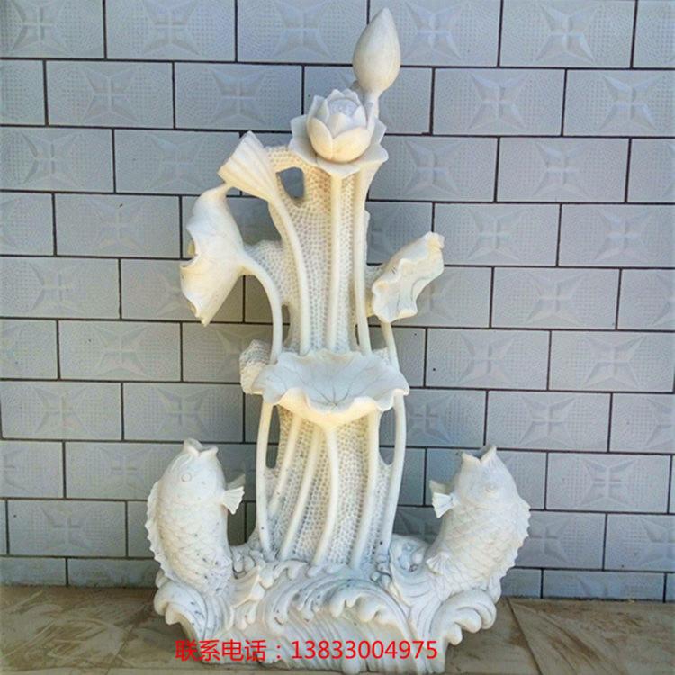 厂家定制石雕 现货批发汉白玉喷泉雕刻 园林喷水景观雕塑