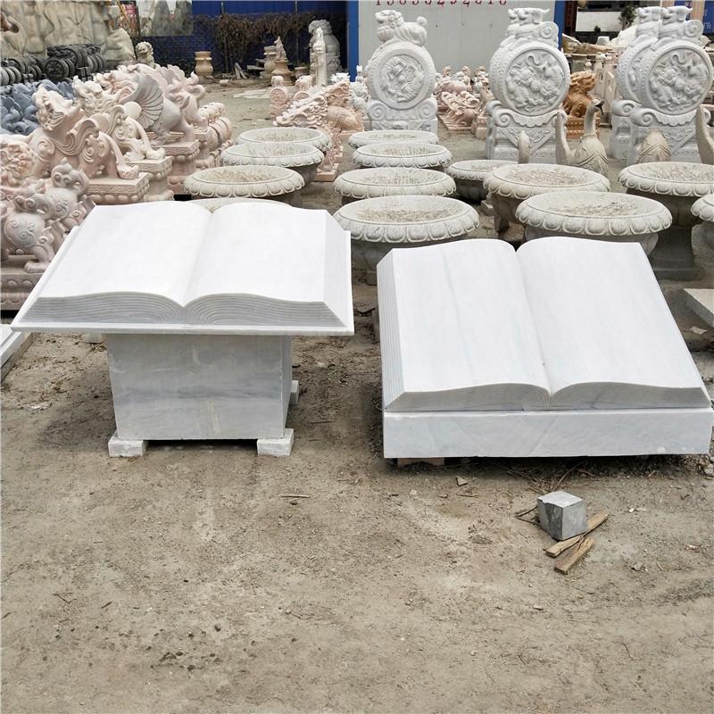 厂家销售石雕书本大理石雕刻书简校园广场石雕书卷书籍文化雕塑