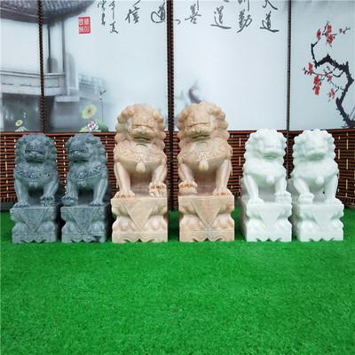 厂家销售石雕石狮子家用门口镇宅雕刻小狮子汉白玉晚霞红石狮摆件