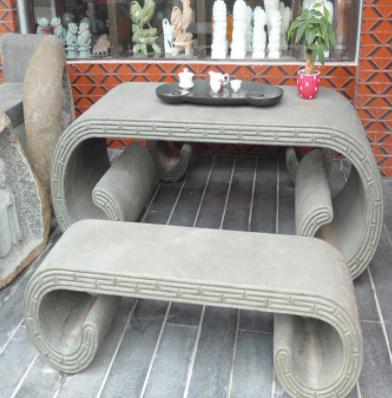 供应园林景观石雕工艺品 福建青石石桌椅 仿古的石头桌椅