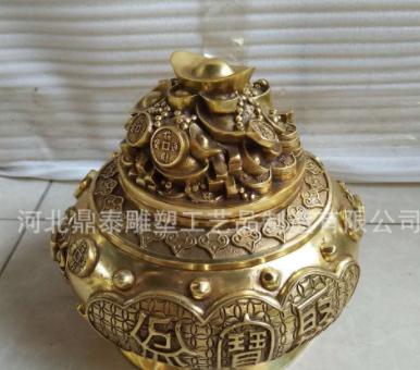 厂家批发铜香炉 定制寺庙长方形纯铜香炉 道教香炉 精品佛教用品