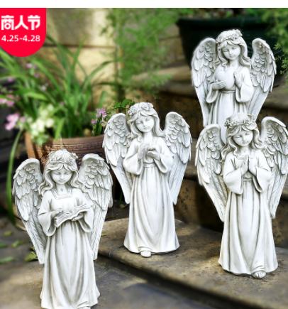 亚马逊款LED灯天使欧式创意女孩花园装饰庭院树脂工艺品雕像摆件