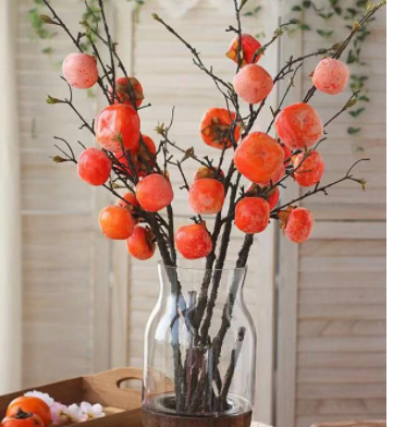 5个柿子仿真柿子枝高仿柿子假柿子插花批发工厂直销装饰 仿真浆果
