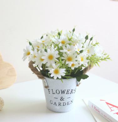 复古美式 小雏菊麻绳铁桶仿真盆景栽植物套装假花工艺品摆件含盆