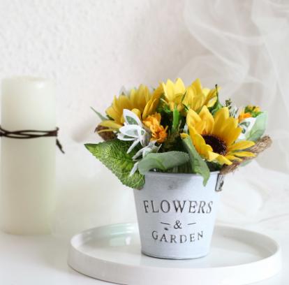 向日葵 太阳花复古铁皮水桶粗麻绳仿真盆景栽植物套装假花摆件