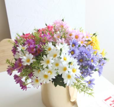 热销款小雏菊 仿真花绢布配件插假花把单支diy室内植物墙装饰设计