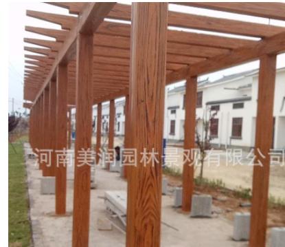 36预应力钢筋混凝土仿木廊架 纯手工雕塑仿木纹廊架 加固安全耐久